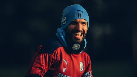 SMILES BETTER: Sergio Aguero was in great spirits during Monday's session!