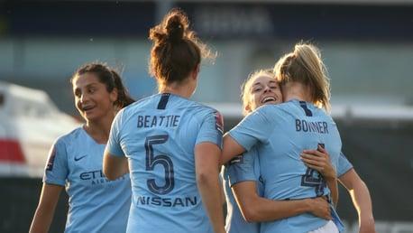 BONNER BEST: The team congratulate Gemma Bonner on her first City goal