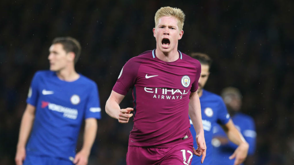 SPECIAL K : Kevin De Bruyne celebrates after his wonder-goal in a crucial win at Chelsea last season