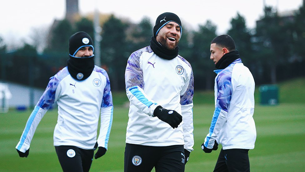 GENERAL ORDERS : Nicolas Otamendi was another of our returning international brigade and Nico looked happy to be back at the CFA