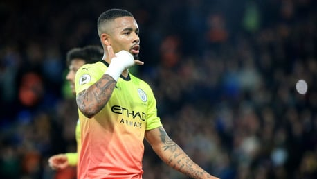 ON TARGET: Gabriel Jesus celebrates his opener against Crystal Palace.