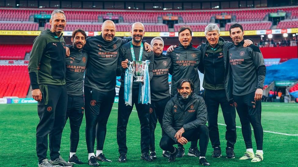 FANTASTIC FOUR : Guardiola mendapatkan Piala Carabao lagi pada April 2021, saat kemenangan 1-0 atas Tottenham mengamankan gelar keempat berturut-turut yang menyamai rekor sebelumnya.