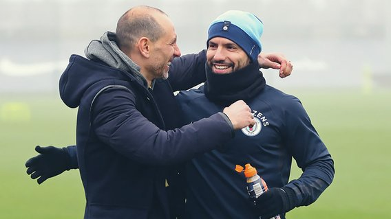 TRUE BLUES: Former City star Martin Petrov greets Sergio Aguero