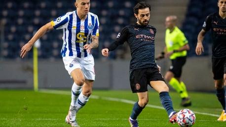 SILVA SERVICE: Bernardo plays a ball down the wing