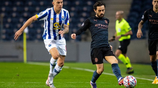 SILVA SERVICE: Bernardo plays a ball down the flank