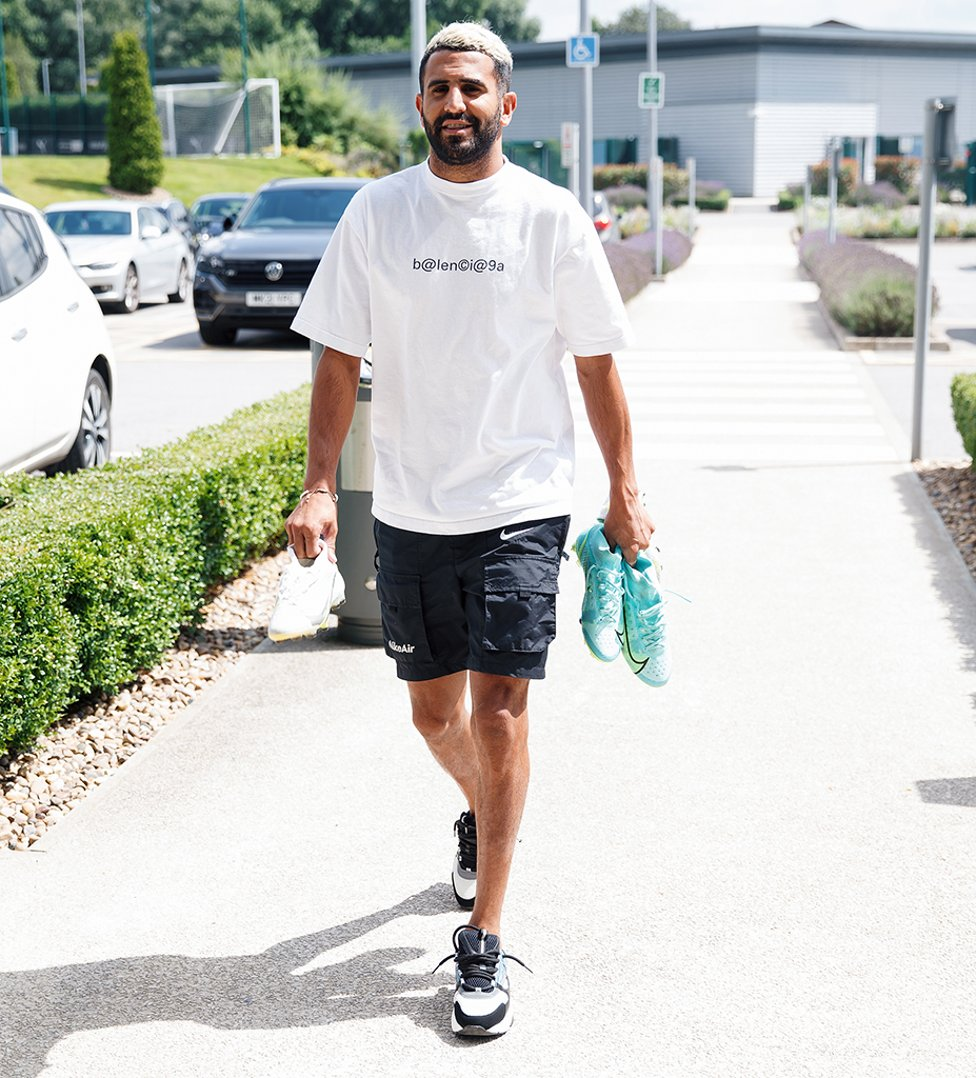 HAIR WE GO: Riyad Mahrez sported a new-look hairstyle as he reported back for duty