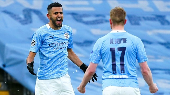 SCORING SENSATION: The elation on Mahrez's face is clear to see!