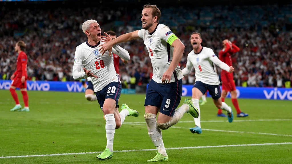 ROAR POWER: Phil Foden's expression says it all after Harry Kane's winner