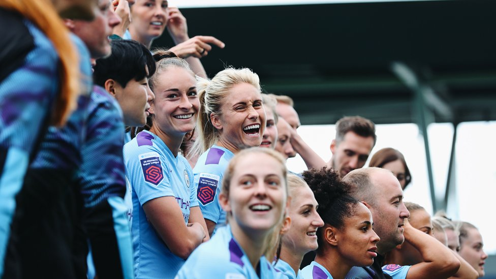 LEAD BY EXAMPLE : Skipper Steph Houghton has a case of the giggles!