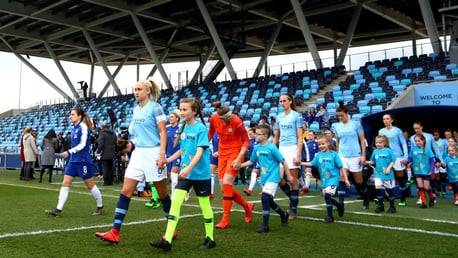 LEADING LADY: 11-year-old Leyla Priest, pictured here with Steph Houghton, led the teams out for our FA Cup semi-final match.