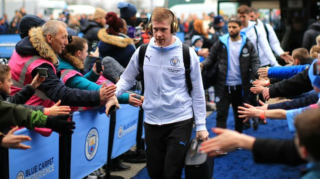 GAME FACE : De Bruyne looks focused as he heads into the stadium.