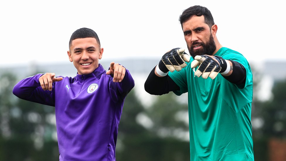 ON POINT : Ian Carlo Poveda and Claudio Bravo gear up for Tuesday's training session