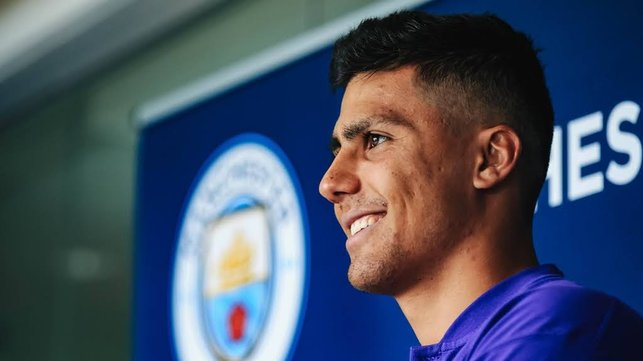 SHINING ON : Rodri says that he is thrilled to have sealed his move to the Club
