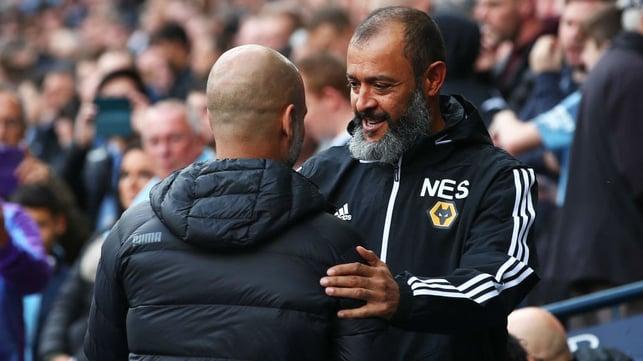 GAFFERS : Pep Guardiola and Nuno Espirito Santo embrace ahead of kick off.
