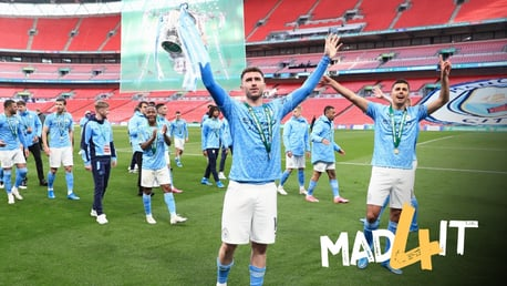MATCHWINNER: Laporte gets his hands on the trophy!