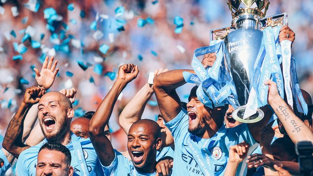 CENTURIONS : City and Fernandinho lift the Premier League trophy once more after our record-breaking 2018 title triumph