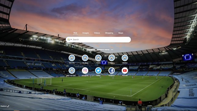 Official Man City Wallpapers and Start Page chrome extension