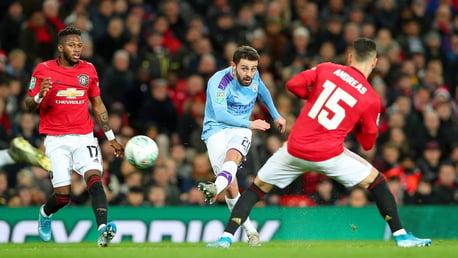 'AVE IT! Bernardo unleashes a superb shot to put City ahead