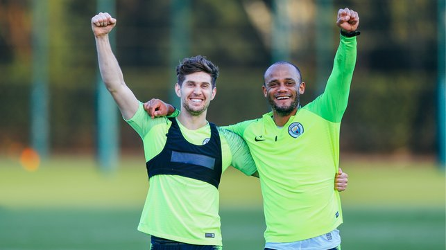 GREAT KOMPANY : The Belgium and City skipper looked delighted to be back with his club centre-half partner.