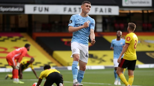 DELIGHT : Foden celebrates after finding the net.