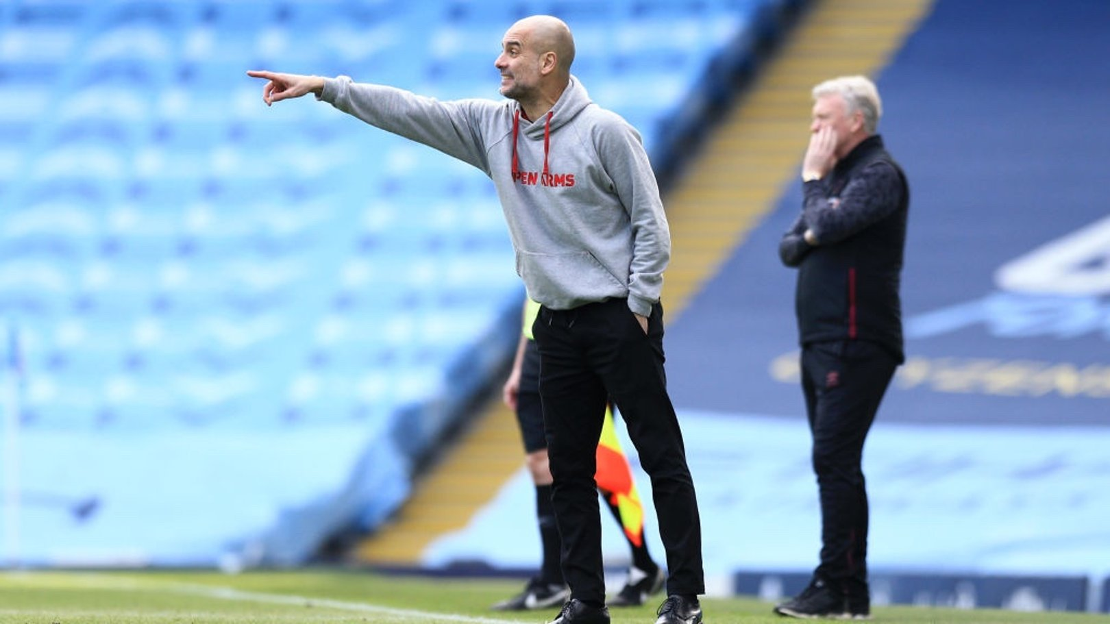 PEP TALK: Guardiola provides instructions from the touchline.