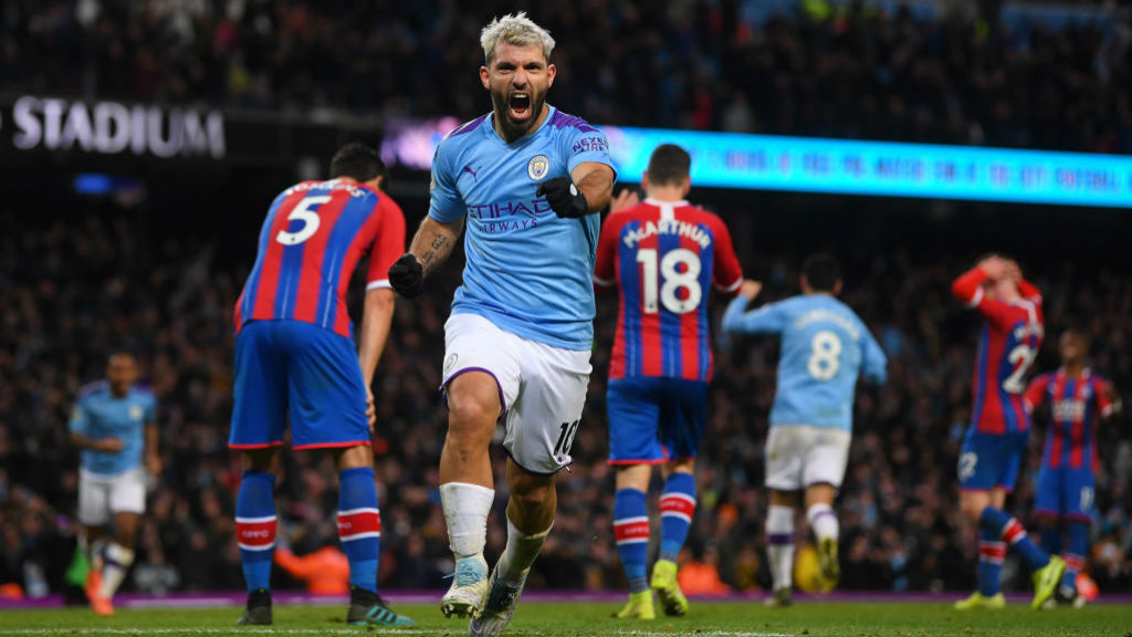QUICK DOUBLE : Aguero heads in to hand City the lead in the 87th minute!
