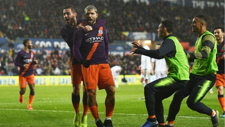 UP FOR THE CUP: Bernardo embraces Sergio after his winning goal
