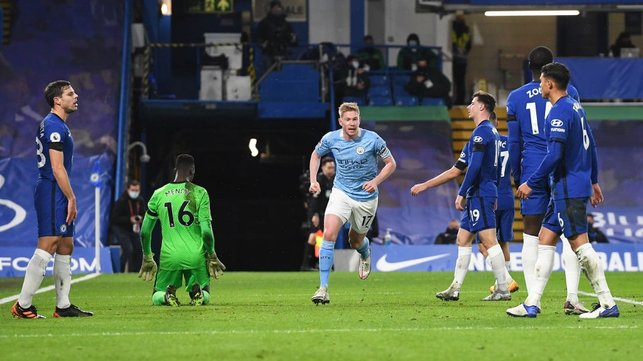 BELGIAN TREAT: Kevin De Bruyne strokes him a third inside 35 minutes