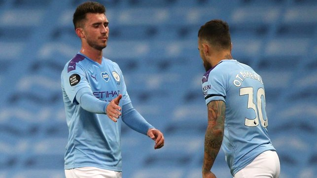 OVER AND OUT : Otamendi replaces Laporte late on as City see out a wonderful victory.