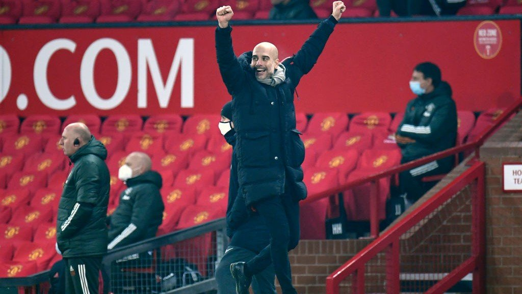 GUARDIOLA GRIN: The boss is delighted by the performance!