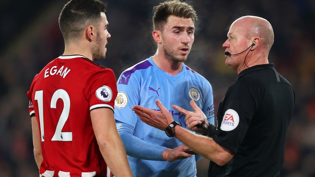 WELCOME BACK: Aymeric Laporte argues his point after a goal-mouth scramble