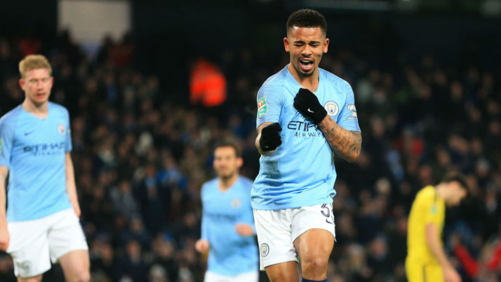 FOUR : Gabriel Jesus is all smiles after his fourth goal against Burton