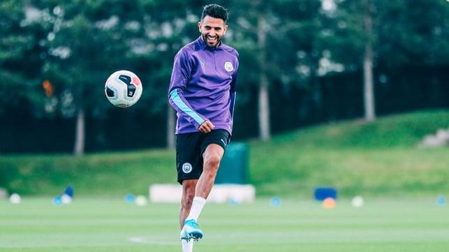 PEARLY WHITES : Riyad looks to be enjoying training!