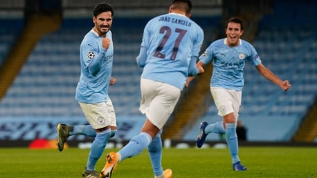 MOMENT OF QUALITY: Ilkay Gundogan wheels away after his free kick finds the back of the net
