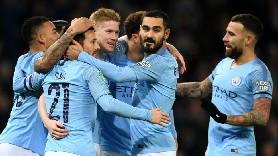 CENTRE OF ATTENTION : The Blues are all smiles after KDB's header