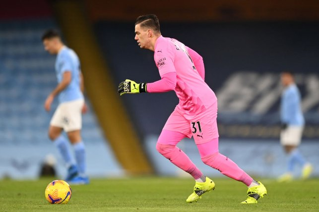PINK PANTHER : Ederson looking as comfortable as ever with the ball at his feet.