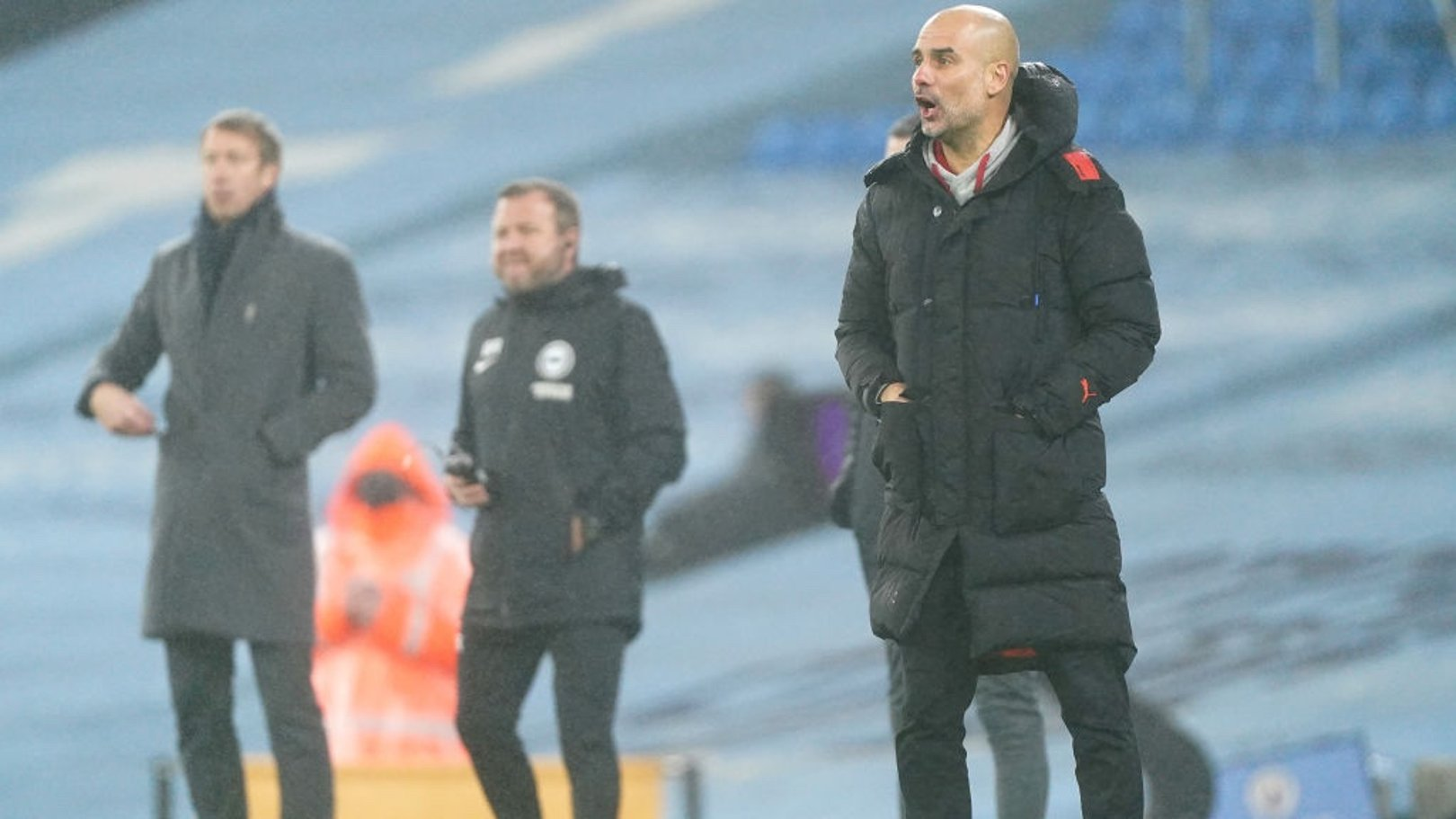 PEP TALK: The boss passes on his instructions from the touchline.