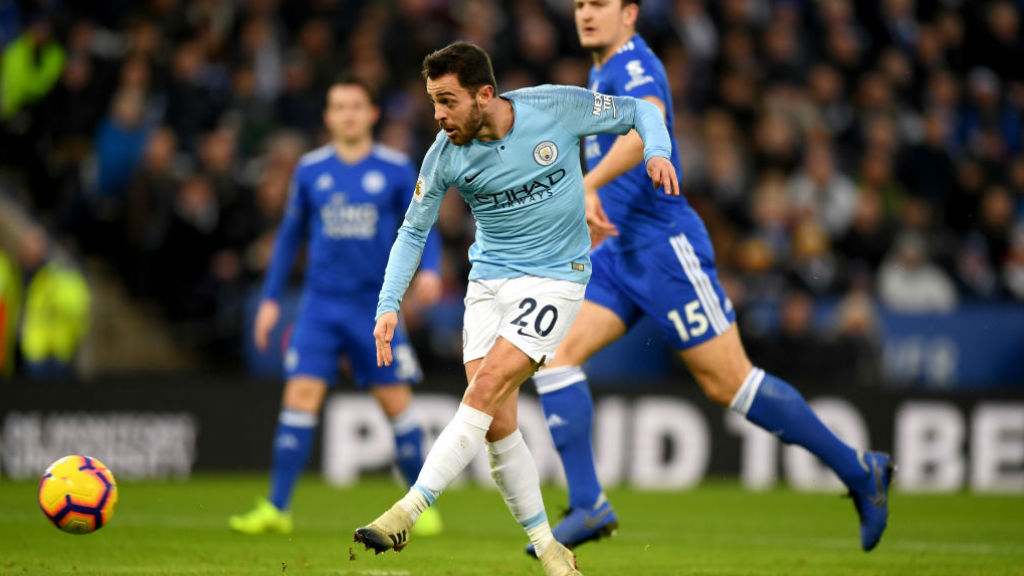 BY THE LEFT : Bernardo Silva coolly slots home City's 14th-minute opener