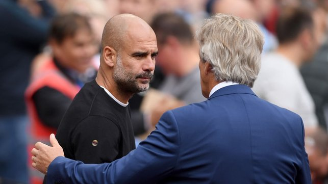 PAST AND PRESENT : Pep Guardiola and Manuel Pellegrini shake hands on the touchline.