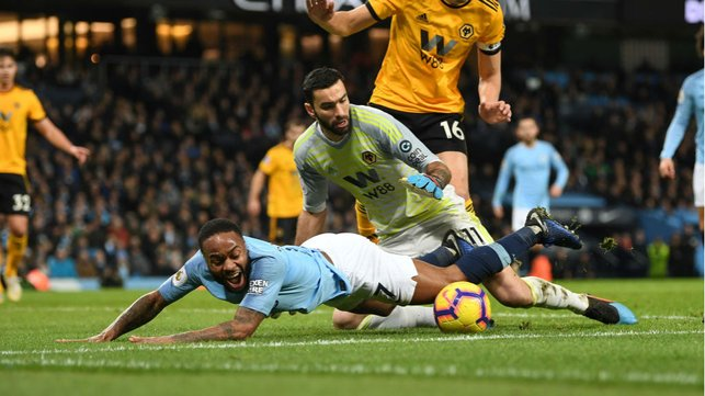 STOP, DROP AND ROLL : An on-fire Raheem Sterling is fouled inside the area