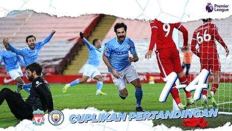 Liverpool 1-4 City: Cuplikan Singkat
