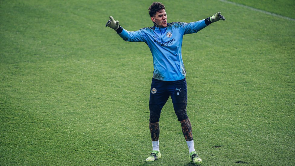 HANDS UP : Ederson had reason to celebrate.