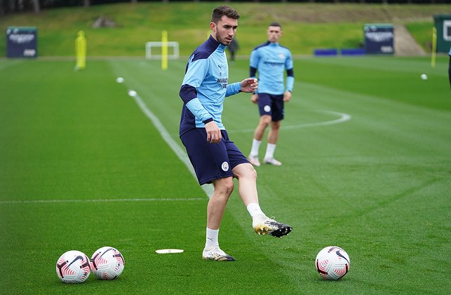 ON THE BALL: Aymeric Laporte also went through some passing drills at Thursday's session