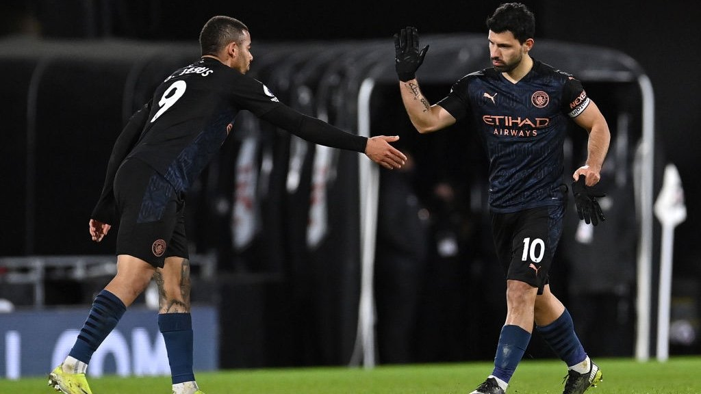 DEADLY DUO: Jesus congratulates Aguero after his goal.