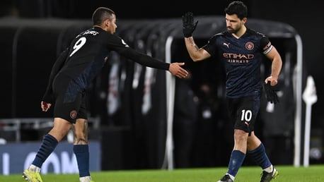 DEADLY DUO: Jesus congratulates Aguero after his goal.