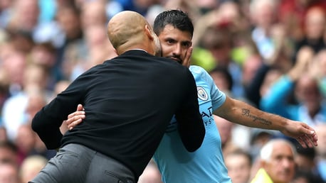 MAN OF THE MATCH: Pep Guardiola shows his appreciation for his hat-trick hero