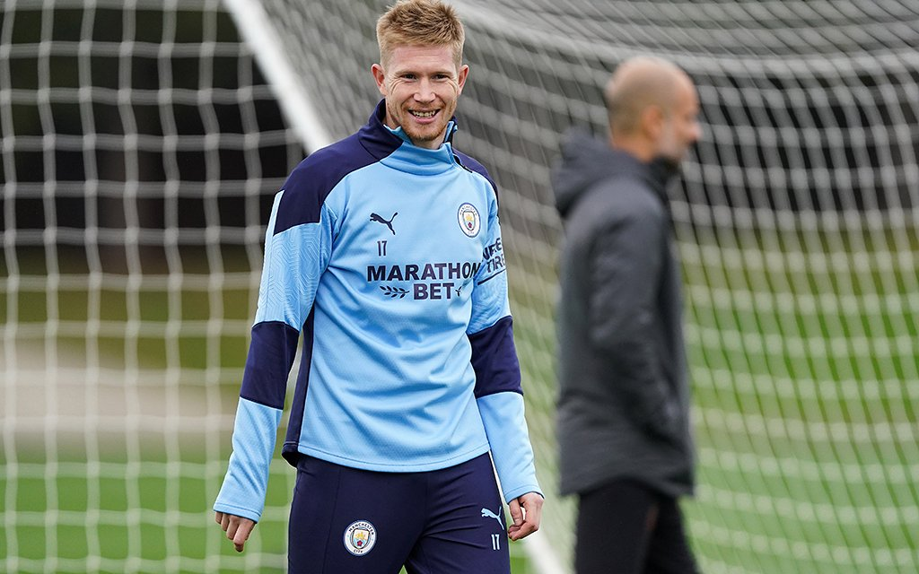 ALL SMILES: Kevin De Bruyne was in upbeat mood as he made a welcome return to training