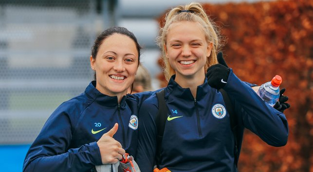 SMILES BETTER : Megan Campbell and Esme Morgan are happy to get back to work at City
