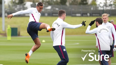 TRAINING: Watch the lads limber up for Yaya's farewell against Brighton