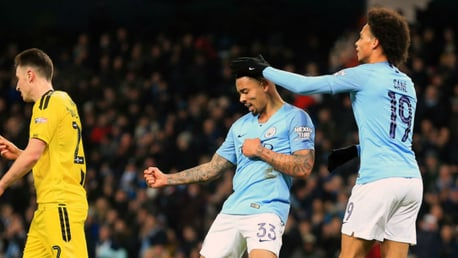 BRAZILIAN BLEND: Gabriel Jesus is saluted by Leroy Sane after his second goal